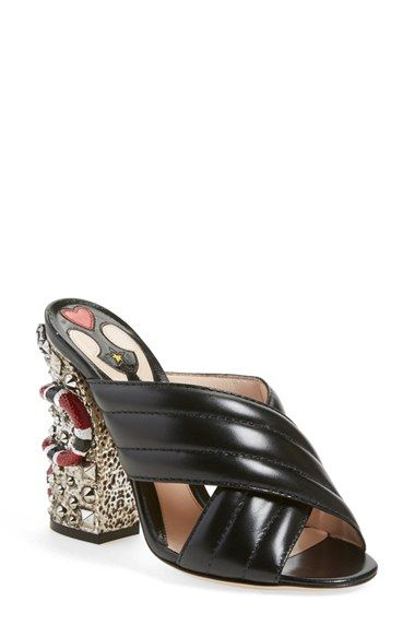 Free shipping and returns on Gucci 'Webby' Embellish Sandal (Women) at Nordstrom.com. Pre-order this style from the Spring 2016 collection! Limited quantities. Ships as soon as available. You'll be charged only when your item ships.Embracing the more-is-more aesthetic that's become Gucci's calling card since the recent appointment of Alessandro Michele at the helm, these channel-quilted leather sandals are adorned with a patchwork leather lining and a '70s-inspired chunky heel set with…