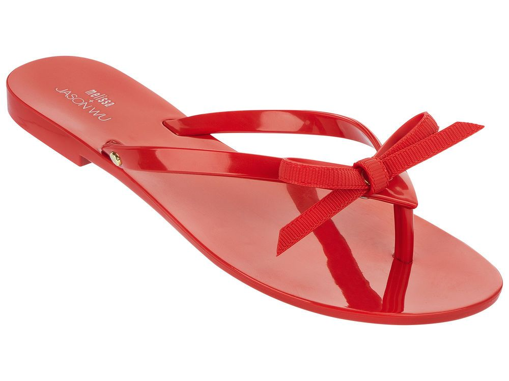 Bow Red Flip Flop Jelly Sandal