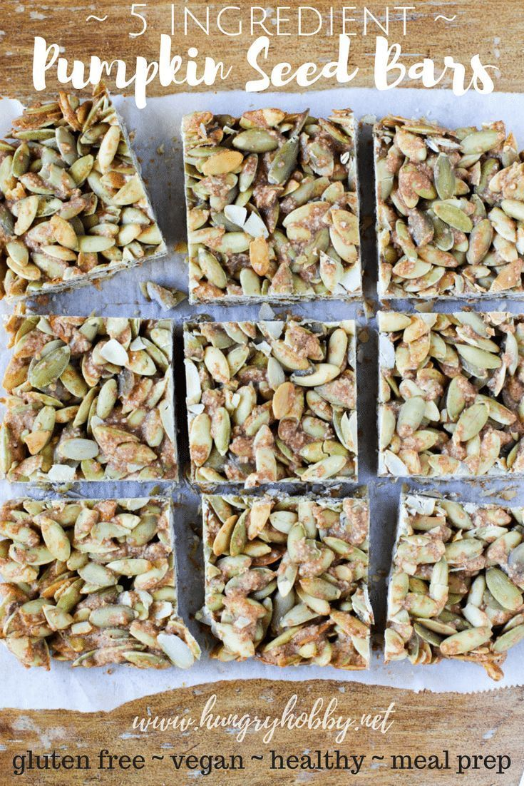 Ingredient Pumpkin Seed Bars These five-ingredient pumpkin seed bars are full of wholesome ingredients & they are super easy to whip up! The perfect salty-sweet anytime snack or breakfast! via @hungryhobbyThese five-ingredient pumpkin seed bars are full of wholesome ingredients & they are super easy to whip up! T...