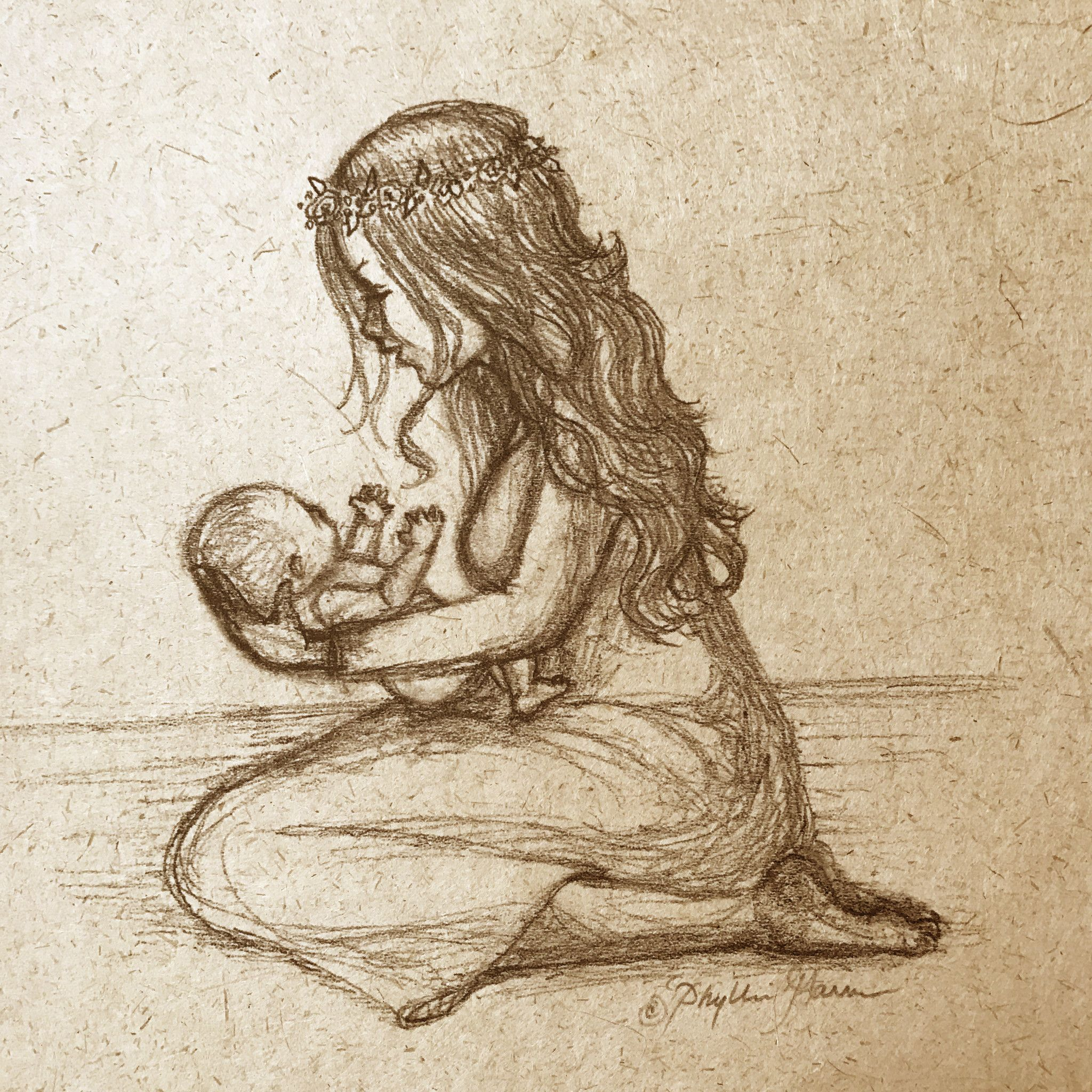 Newborn baby and mother sketch on handmade paper