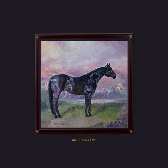 Mustang Horse PRINT On Thick Paper Sunset Artwork Painting Beautiful Black Art Living Room Bedroom