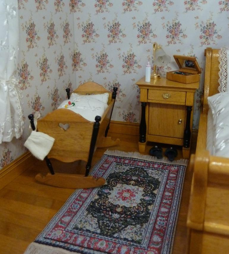 Schlafzimmer, die Kinderwiege 1:12