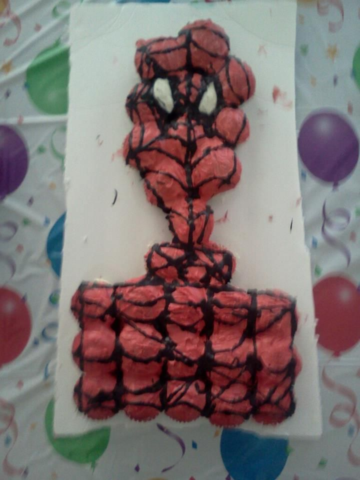 spiderman cupcake cake -didnt turn out so good but my son loved it