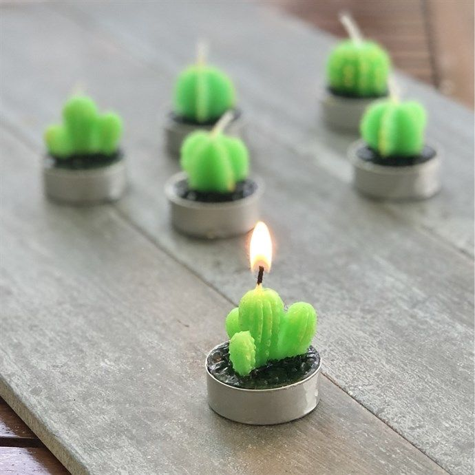 Mini Cactus Candles   Set of 3 is part of Cactus Plant decor - This trio of candles is cleverly crafted to resemble mini cactus plants ​ The cactus candles add a nice pop of green for your home decor, or can be used as party favors for wedding or baby showers