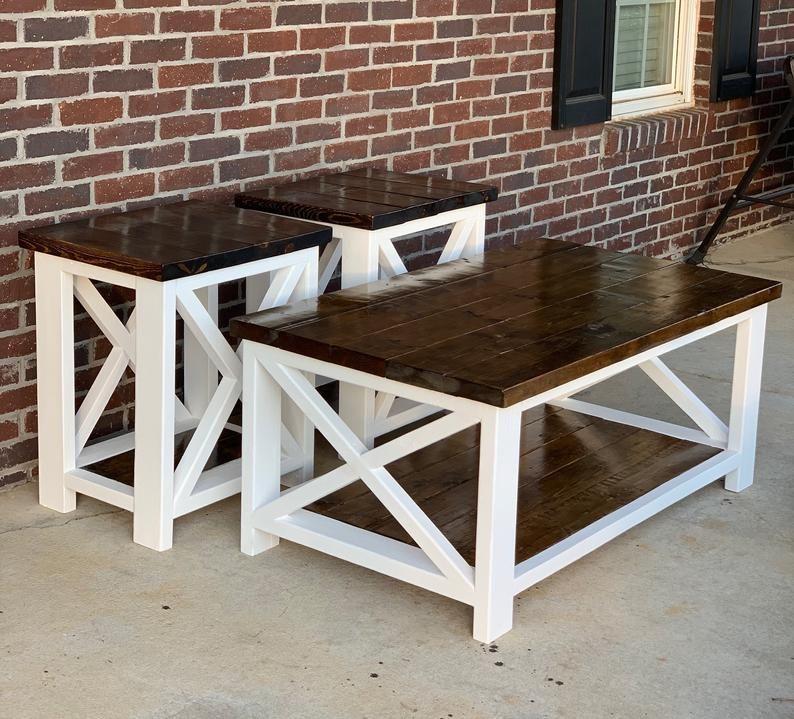 Farmhouse Coffee Table End Table Set In 2020 Farmhouse Coffee