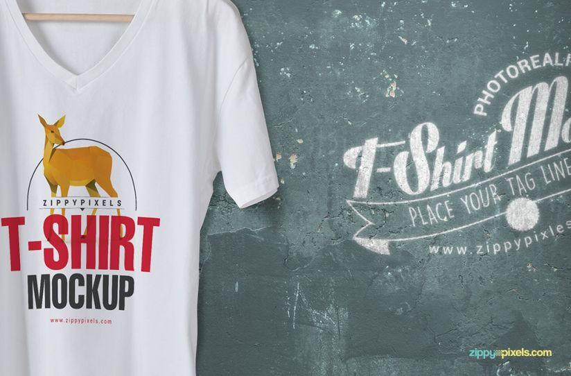 Download Trendy Free V Neck T Shirt Mockup Zippypixels Shirt Mockup T Shirt Clothing Mockup