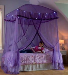 Lighted Bed Canopy Sparkling Lights Bower Kids Girls Princess
