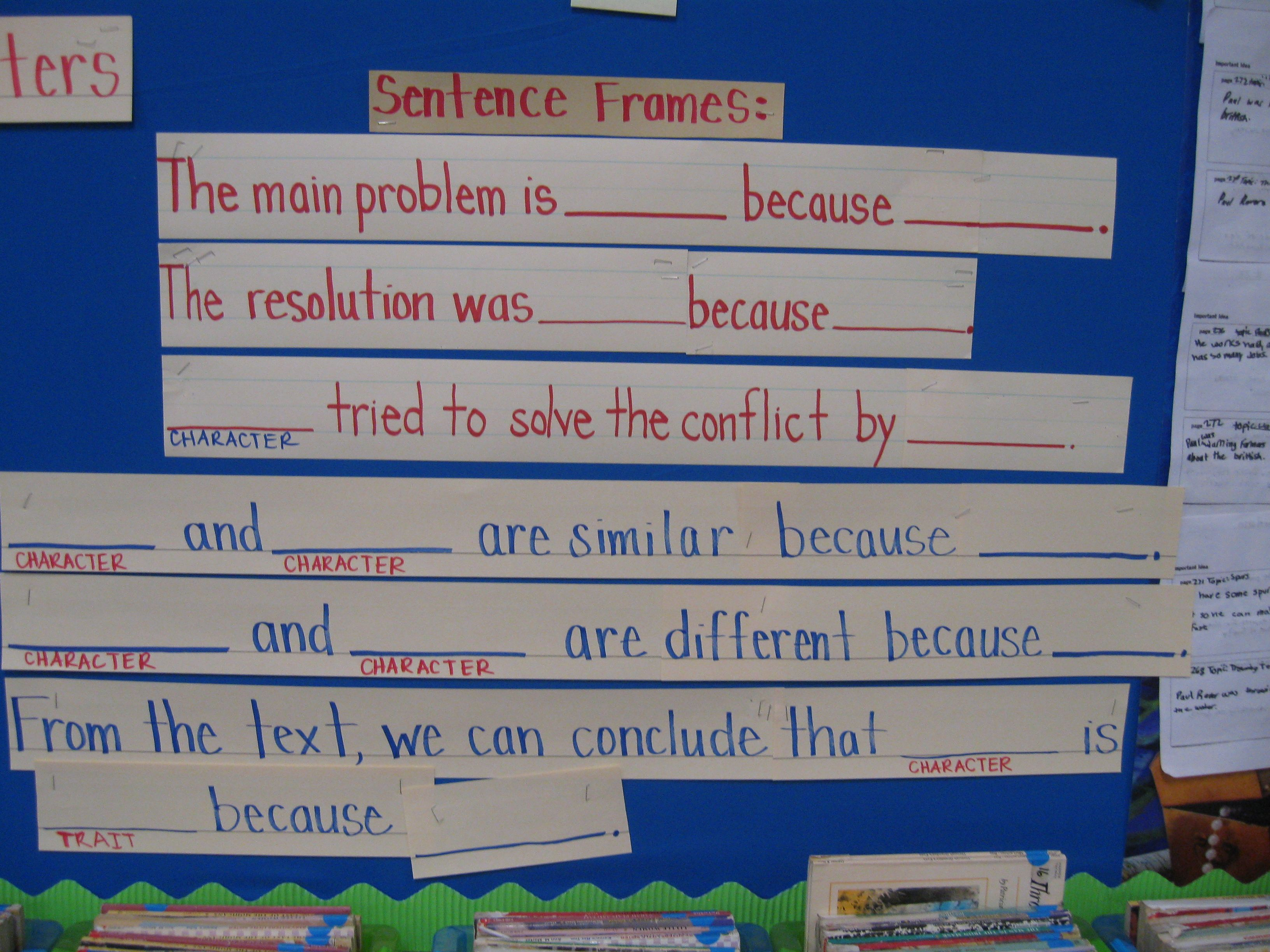 Problem Solution And Character Comparison Sentence Frame