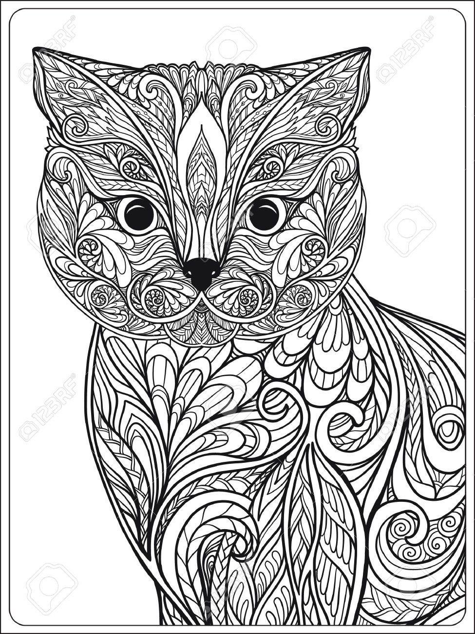 57337713-Gato-decorativo-Ilustraci-n-del-vector-Libro-de-colorante ...