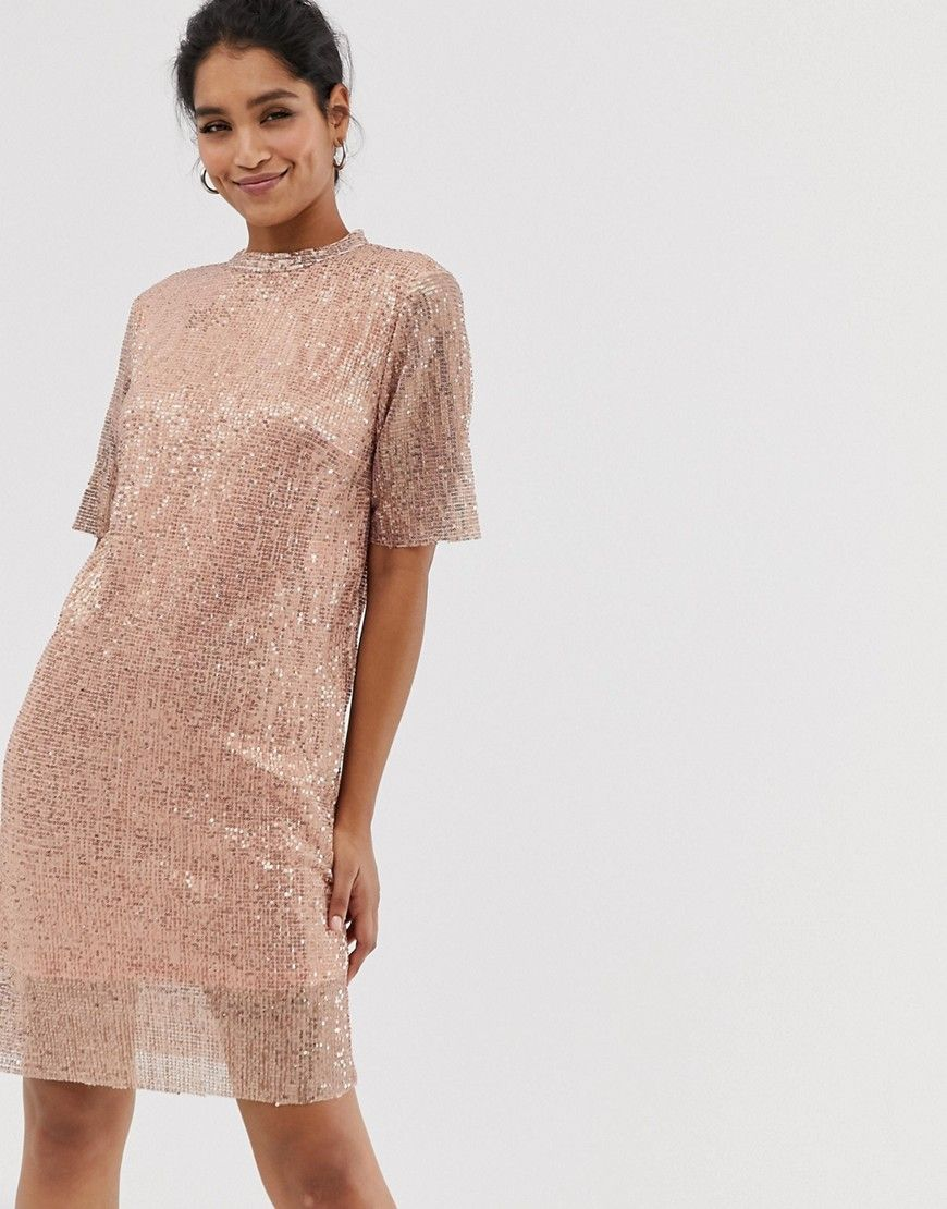 vila sequin shift dress-pink in 2020 | long sleeve lace mini