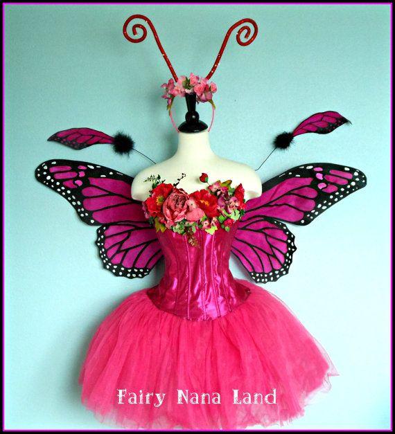 Adulte Femmes Noir//Violet Moth BUTTERFLY Costume Halloween Robe Fantaisie Ailes