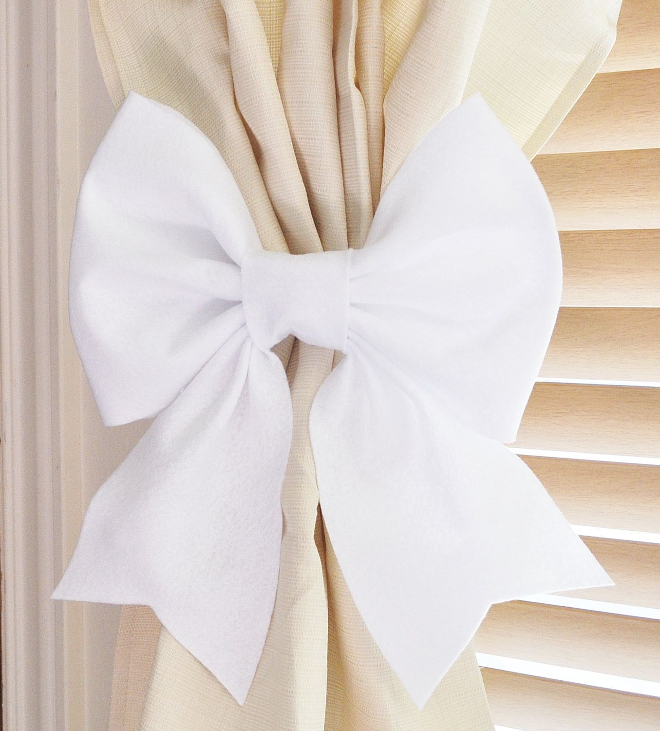 Baby Nursery Curtain Tie Backs Two White Bow Curtain Tie Backs Decorative Tiebacks Curtain