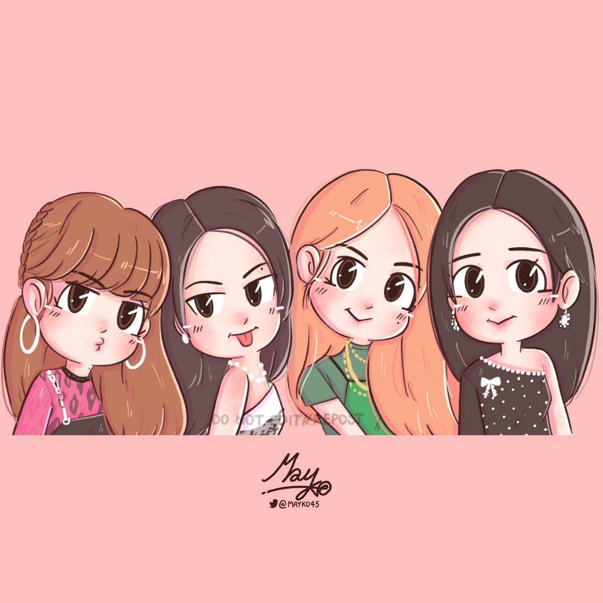 Jennie Cute Cartoon Wallpapers Pink Wallpaper Anime Girls Cartoon Art