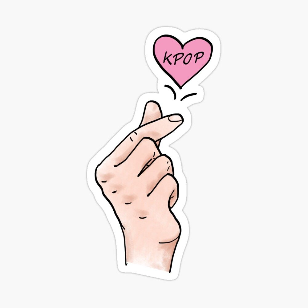 I Heart Kpop Kpop Finger Heart Digital Painted Finger Hearts For All Kpop Lovers Glossy Sticker By Multifandomfan Coloring Stickers Heart Stickers Finger Heart