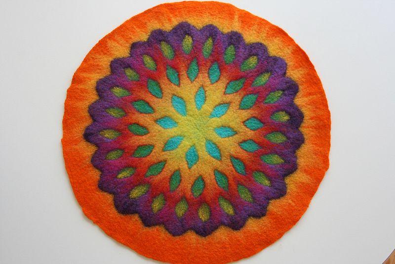 A Felted Mandala Handmade Felt Needle Felting Felt Art