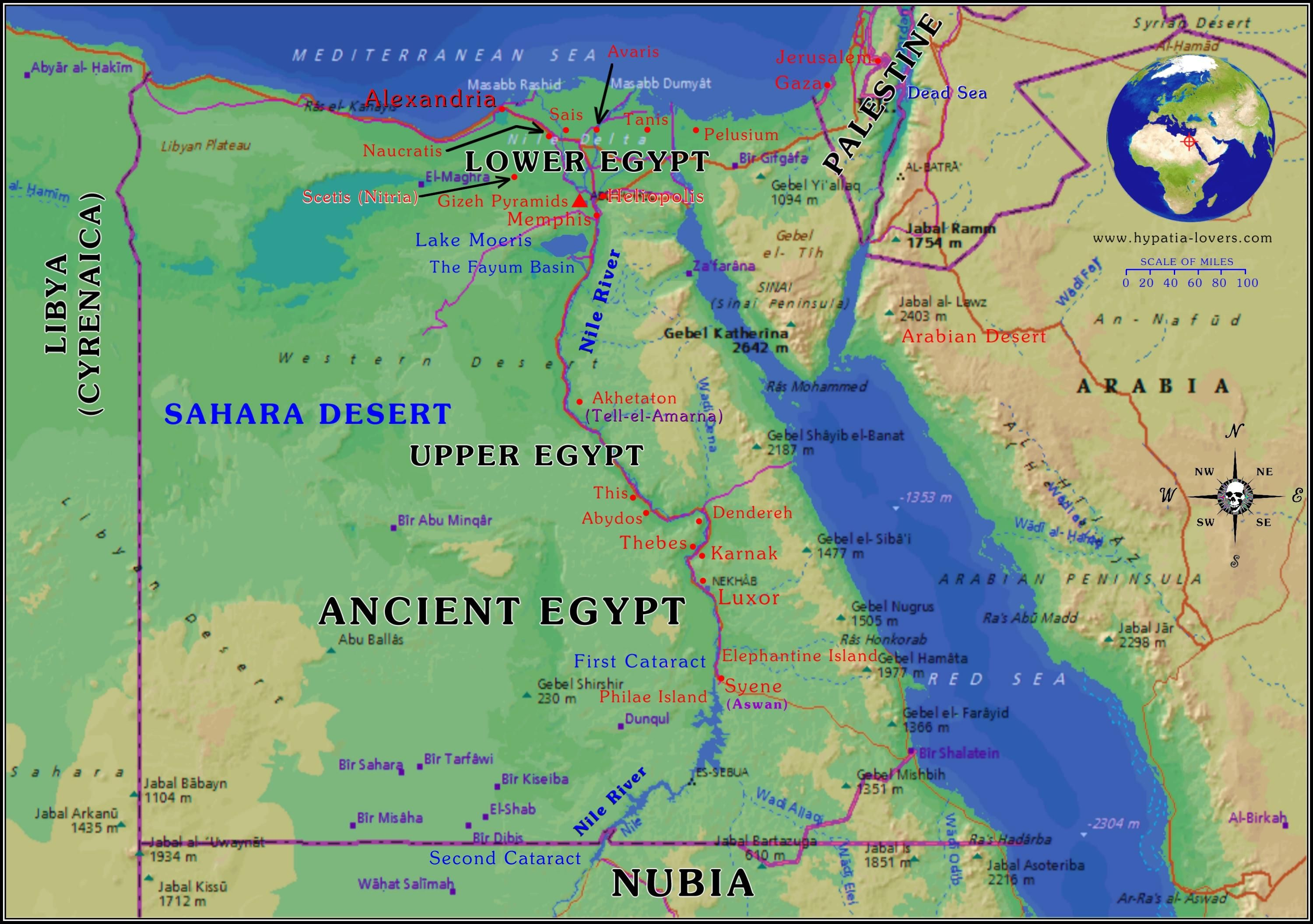 Map Of Ancient Egypt And Surrounding Area With Terrain