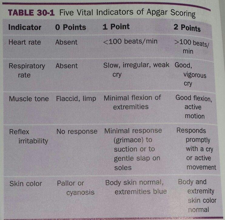 Apsgar scoring Muscle tone, No response, Nclex