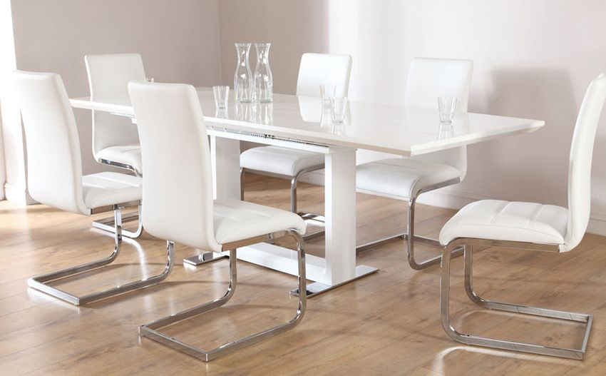 cheap dining room table and chair sets | Tokyo White High Gloss Extending Dining Table - with 6 ...