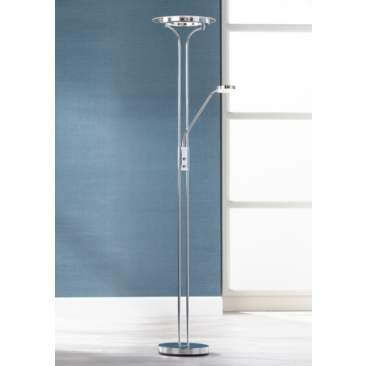 Perseus Chrome Led Torchiere With Gooseneck Reading Arm Med Bilder