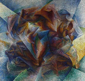 Umberto Boccioni, 1913, Dynamism of a Cyclist (Dinamismo di un ciclista), oil on canvas, 70 x 95 cm, Gianni Mattioli Collection, on long-term loan to the Peggy Guggenheim Collection, Venice - Dynamism of a Cyclist - Wikipedia, the free encyclopedia