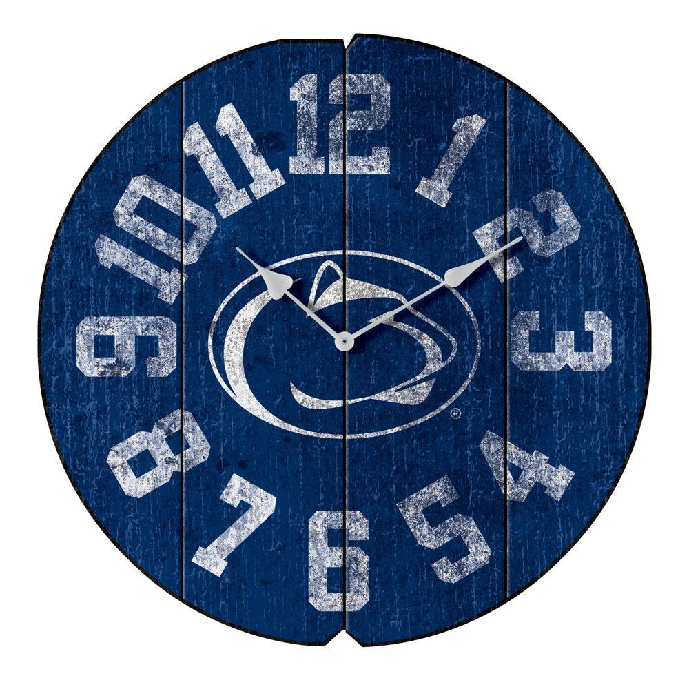 """Penn State Nittany Lions 16"""" Weathered Wood Wall Clock"""