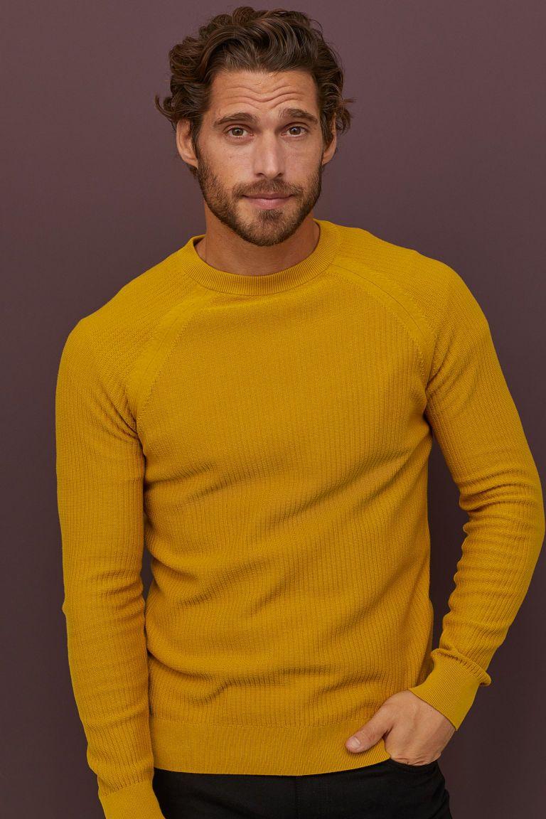 Muscle Fit Knit Sweater Mustard Yellow Men H M Us Sweater Outfits Men Denim Jacket Men Long Sleeve Tshirt Men [ 1152 x 768 Pixel ]