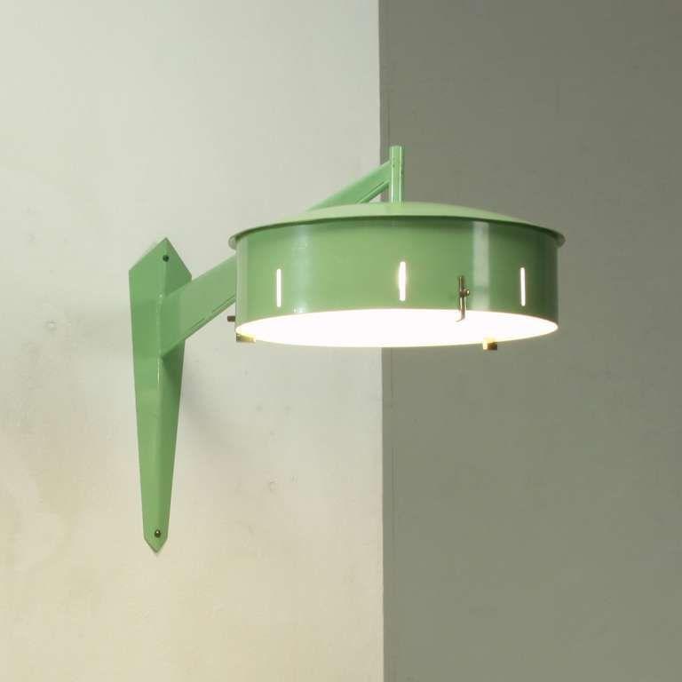 Italian 1950s Stilnovo Wall Applique In Pale Green Metal | Wall ...