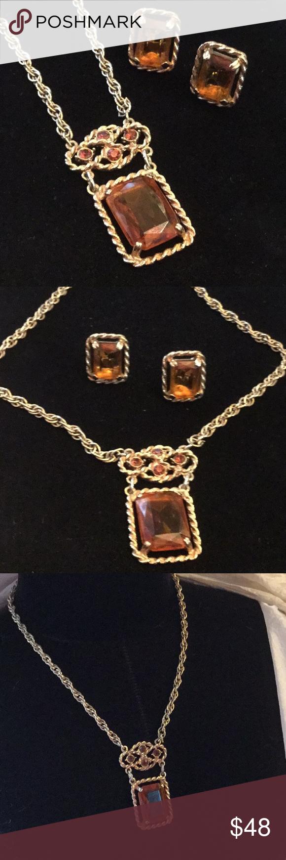 Exquisite antique necklace u earring set imperial topaz antique