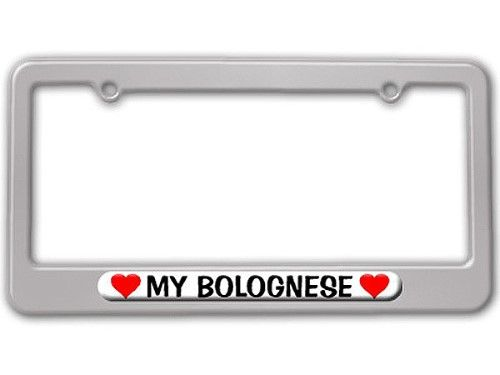 My Bolognese Love with Hearts License Plate Frame, Silver | License ...