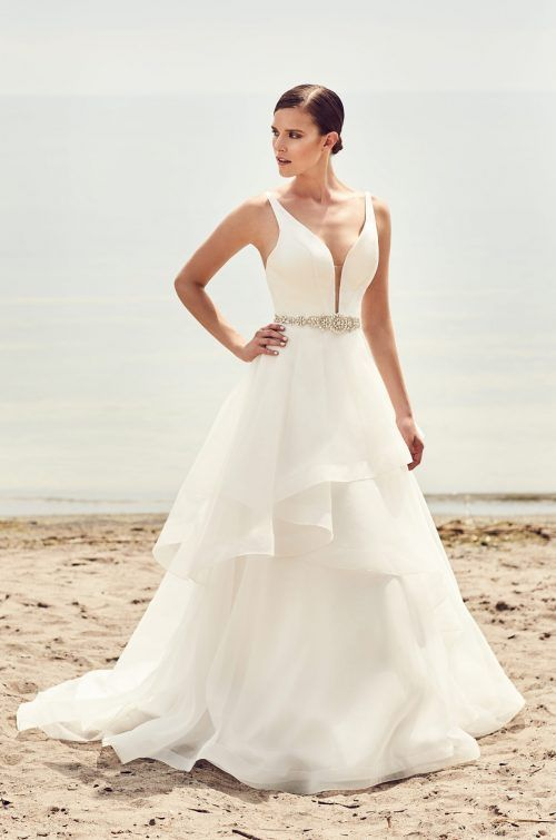 Tiered Organza Skirt Wedding Dress - Style #2112 | Mikaella bridal ...