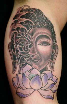 Lotus And Buddha Tattoo Buddha Tattoo Buddhist Tattoo Buddha Tattoos