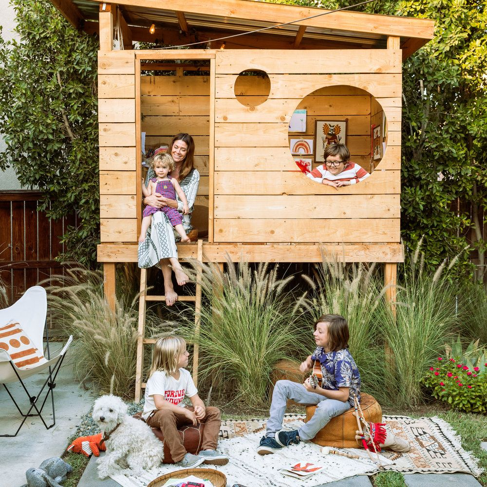 An outdoor play space is the warm weather