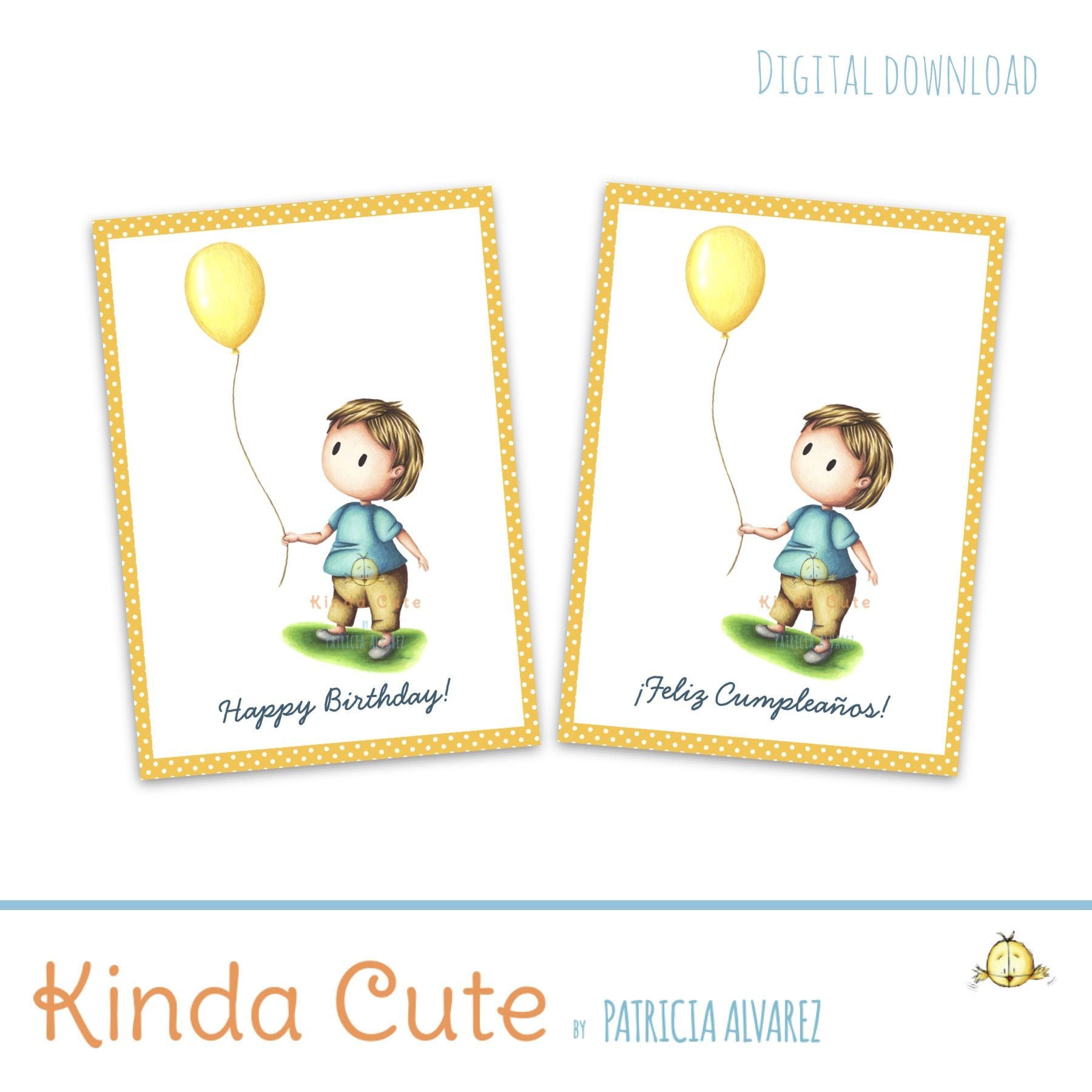 Baby with yellow balloon 1st birthday printable card