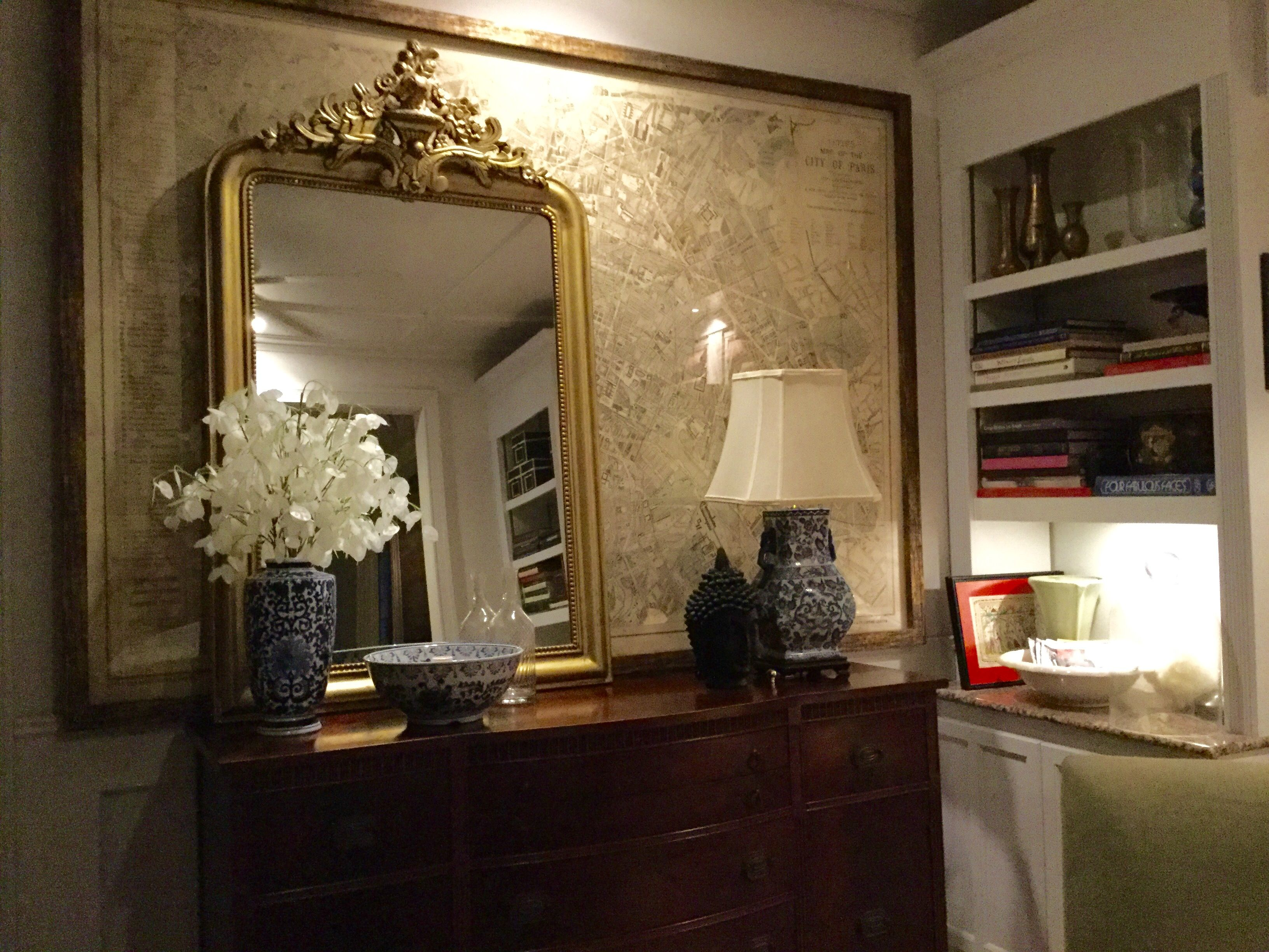 Louis Philippe Gilt Mirror In Front Of Very Large 1869 Paris Fr City Map In My Dining Library Gilt Mirror Home Decor Decor