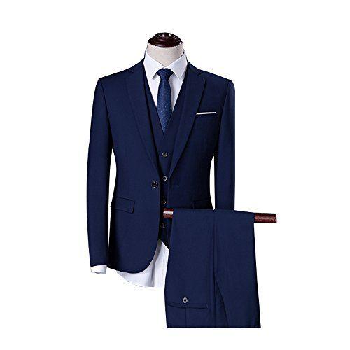 Men/'s Plaid 3 Piece 2 Button Classic Fit Vested Suit Notch Lapel Groom Tuxedos