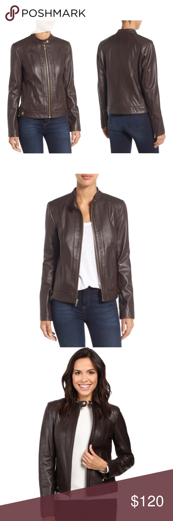 8bebaab2684f5 Cole Haan Leather Moto Jacket Add a splash of style to your outfit with  this chic