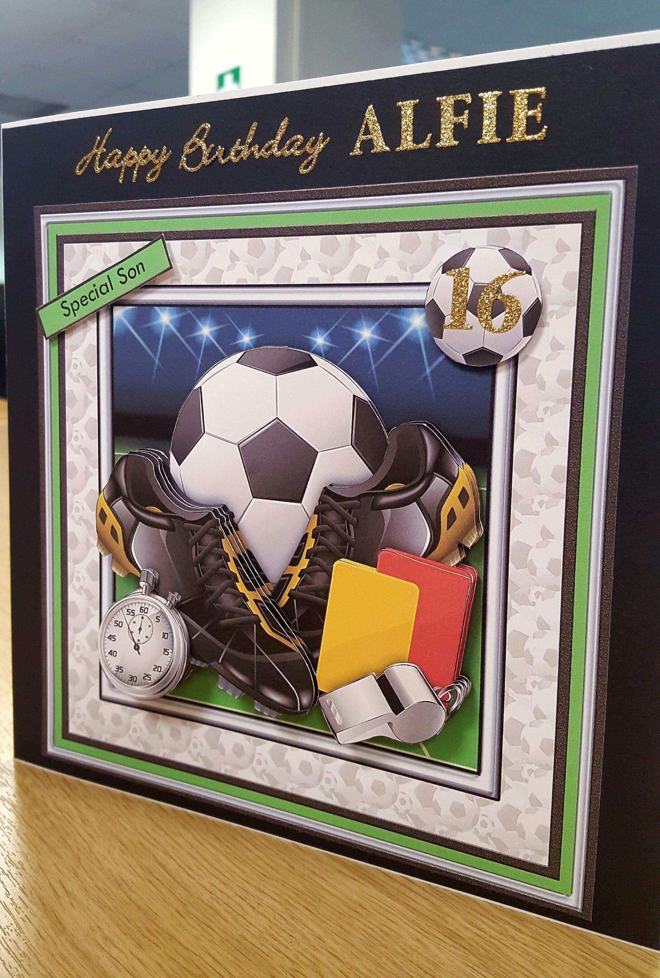 Son Male 16th Football Referee Birthday Card Front Handmade By