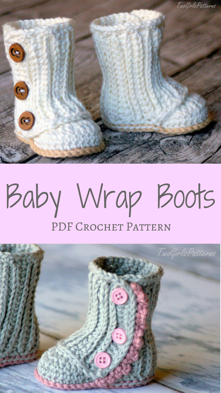 Adorable Baby Wrap Boots Crochet Pdf Pattern With Two Different