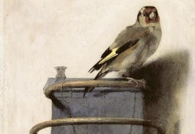 The Goldfinch, by Carel Fabritius. The 1654 oil painting is a mere 13 1/4 x 9 inches.