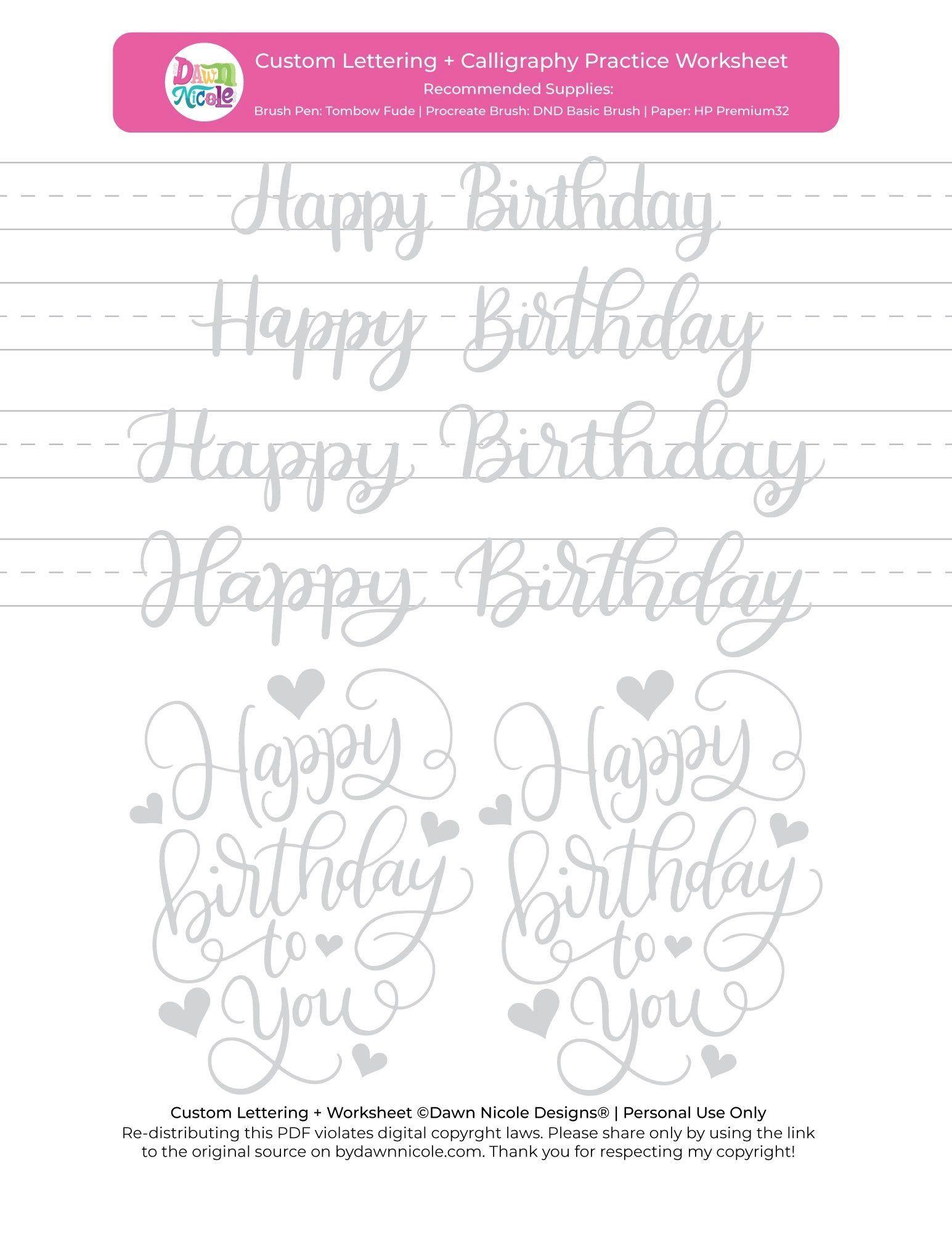 Happy Birthday Brush Calligraphy Practice Sheets