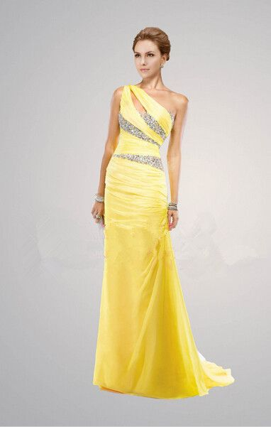 New Elegant Yellow Evening Dresses One Shoulder Long Beading ...