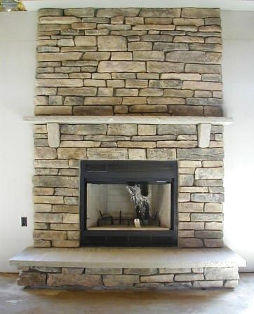 Stack stone fireplace | Stacked stone fireplaces