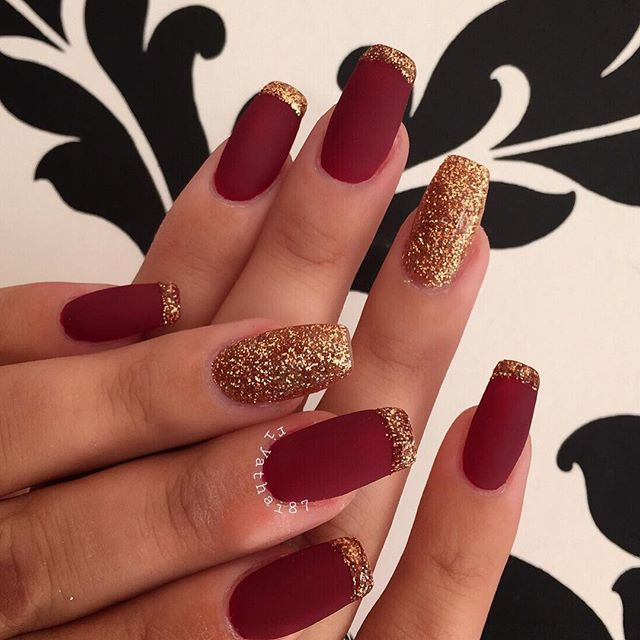 For the lovely✨#cle #classy Red And Gold Nails, Burgundy Acrylic Nails - For The Lovely✨#cle #classy Nails In 2019 Pinterest Nails