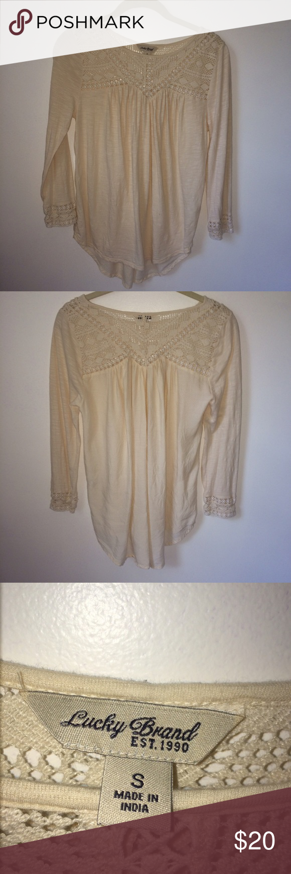 Lucky Brand Long Sleeve Top Lacy macrame at neckline. Cream Color. Perfect Condition. Lucky Brand Tops