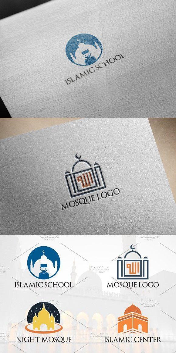 4 Moslem Mosque Islamic Logo Desain logo, Desain, Kaos