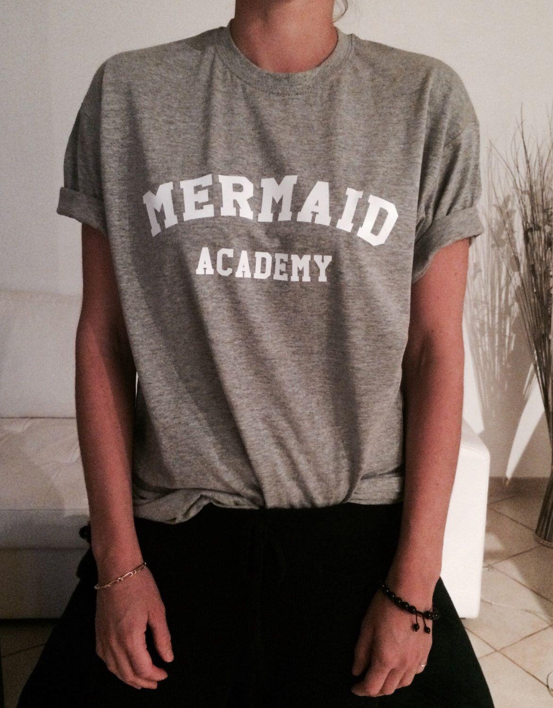 695343afecef Mermaid academy Tshirt gray Fashion funny slogan womens girls sassy cute top  by Nallashop on Etsy