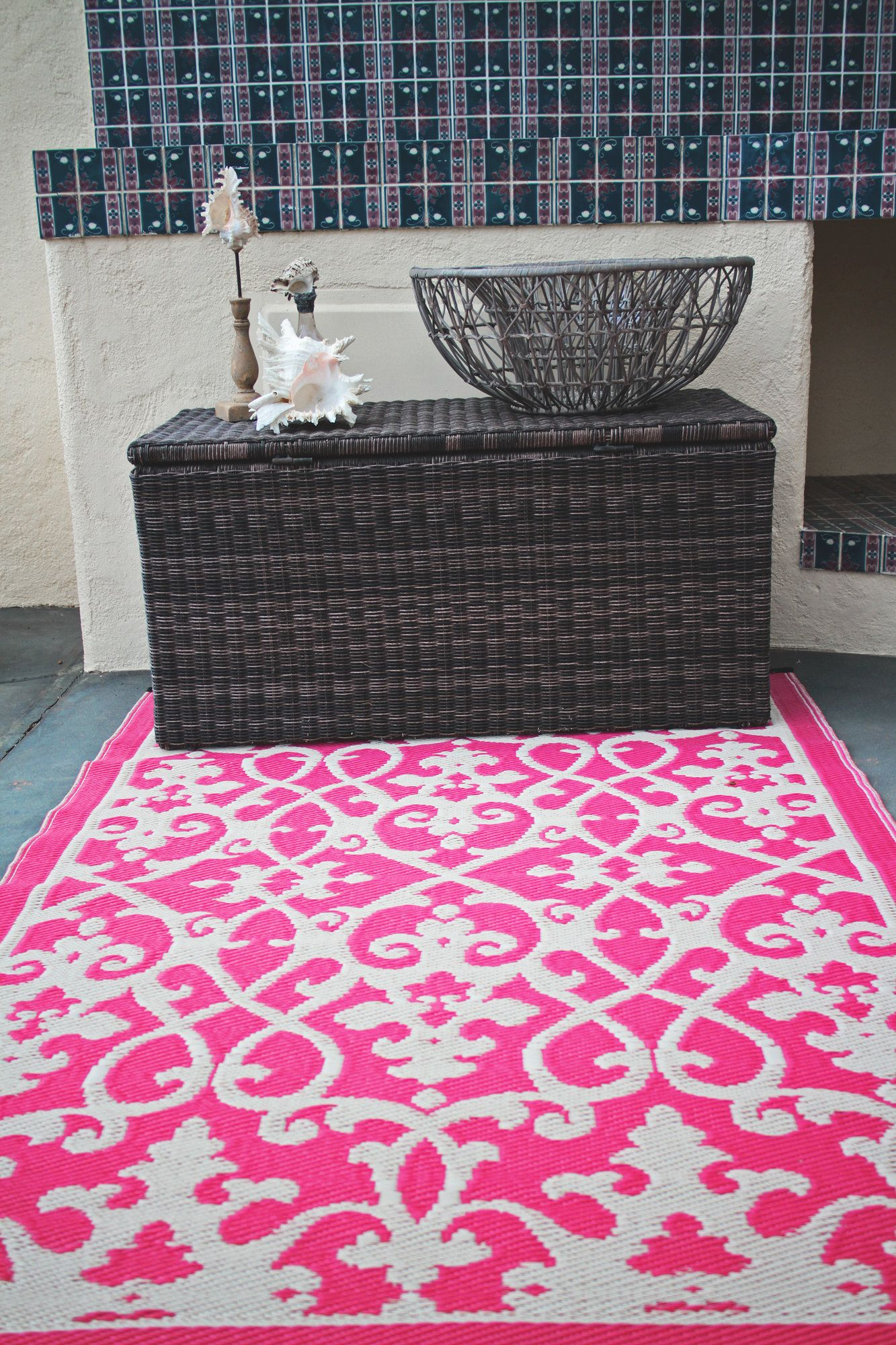 Julianne Venice Cream Pink Indoor Outdoor Area Rug Outdoor Plastic Rug Rugs Fab Habitat