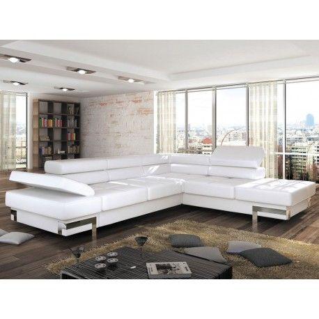 Italian Style Leather Corner Sofa Bed Ricardo - NoName ...