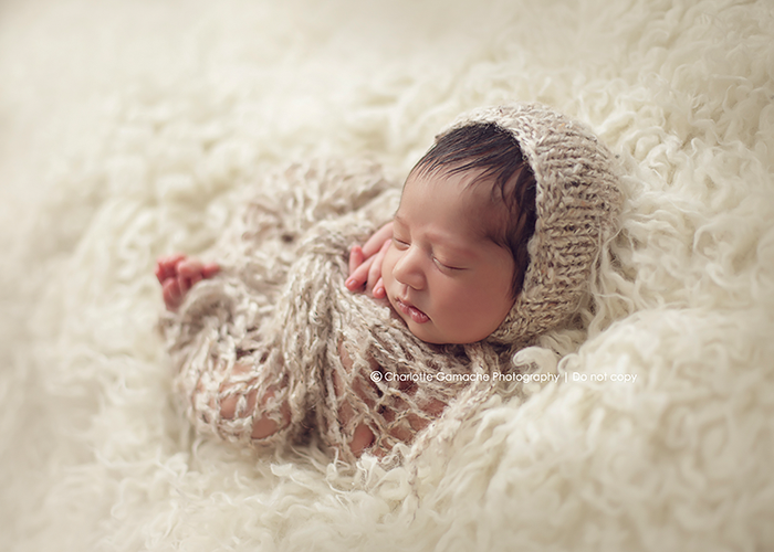 Vancouver newborn photographers baby props studio session feathers basket beige