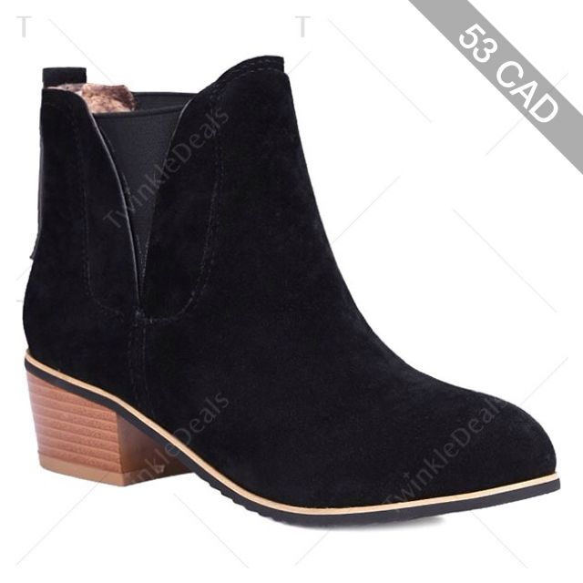 Concise Chunky Heel and Suede Design Ankle Boots For Women